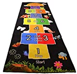 Mambu Essentials Hopscotch Rug - Non Slip Kids Play Rug for Playroom, Daycare, Nursery - Cute Indoor or Outdoor Play Carpet for Children - Fun, Educational Games for Boys & Girls - Large Size: 78x26
