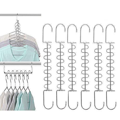 YGZN Appendiabiti salvaspazio in Metallo, Magic Appendiabiti di Deformazione Multifunzionale Grucce,Rotazione di 360°,Antiscivolo,Pieghevole Grucce per Case, Appartamenti