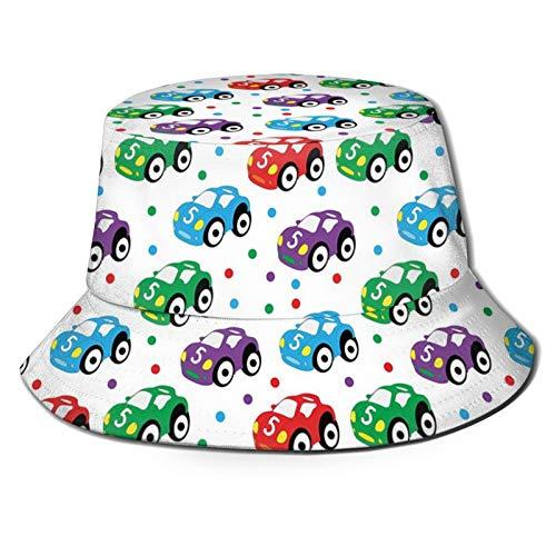 FULIYA Fisherman - Sombrero de ala ancha para senderismo, diseño de figuras de juguete con puntos número cinco coches para un tiempo de juego alegre
