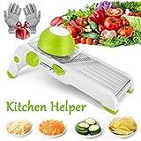 Reesibi Mandoline Slicer Professional, Vegetable Cutter Spiralizer Multifunctional Stainless Steel Adjustable Mandolin Food