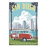 Vintage-Reise-Poster, San Diego, Schlafzimmer, dekoratives