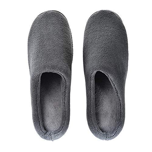 GUALA Comfort Memoria Zapatillas Hombres de Espuma Zapatillas Antideslizante Suela de Goma con Forro de Felpa para Interiores y Exteriores,Gris,48/49