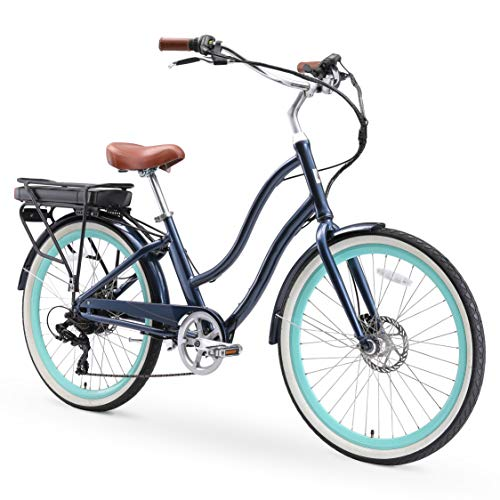 sixthreezero EVRYjourney Women's Single Speed Step-Through Hybrid Cruiser Bicycle, 26' Wheels and 17.5' Frame, Navy with Brown Seat and Grips, 630085, Navy w/Brown Seat/Grips