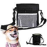 Dog Treat Pouch Portable Built-in Poop Bag Dispenser Pet Training Bag for Treats Kibbles Toys Adjustable Puppy Snack Waist Bag Drawstring Sealing Multiple Ways to Wear Dog Fanny Pack Crossbody (Black)