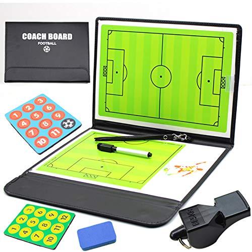 YOGAA Pizarra Magnética para Entrenador de Fútbol con Borrado En Seco, Rotulador E Imanes - Kit De Portapapeles de Estrategia de Tablero Táctico Plegable Y Portátil