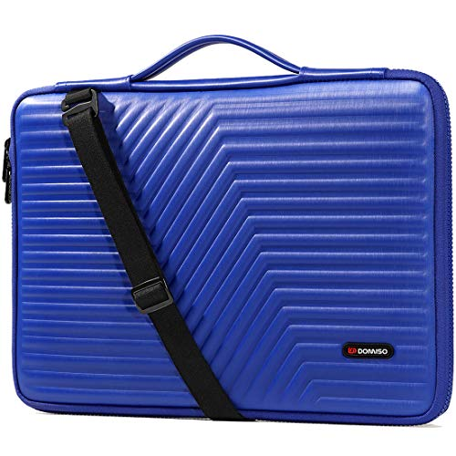 DOMISO 15.6 inch Laptop Sleeve Shoulder Bag Shockproof Case Waterproof Protective EVA Handbag for 15.6' Lenovo Yoga 720 IdeaPad 310 320 ThinkPad T570/Dell Inspiron 15/HP Envy 15/15.6' Notebooks,Blue