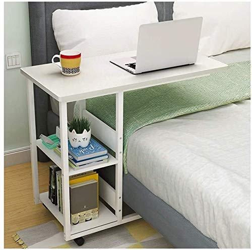MotBach Tabla de Extremo Mesa Auxiliar de la Mesa de Plegado Mesa de portátil Mesa portátil, para Cama de sofá Cama de Lectura, Escritorio de pie con Ruedas (Color : Maple Color, Size : 40x60x75cm)