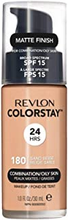 Revlon ColorStay Makeup for Combination/Oily Skin SPF 15, Longwear Liquid Foundation, with Medium-Full Coverage, Matte Finish, Oil Free, 180 Sand Beige, 1.0 oz
