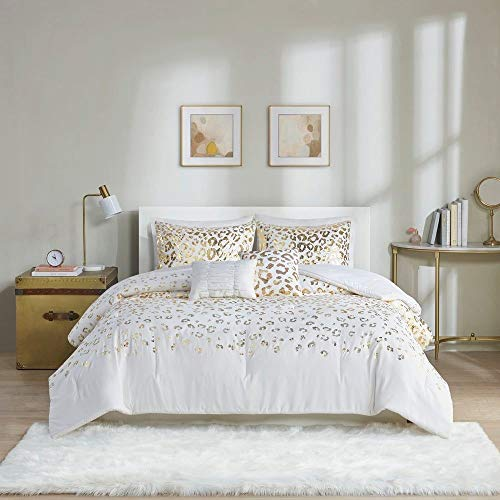 5 Piece Glam White Comforter Set Queen Full Size, All Season Beautiful Stunning Gold Metallic Leopard Animal Bedding, Ultra-Soft All-Over Diamond Terry Loop Embossed Pattern Warm Soft Comforter