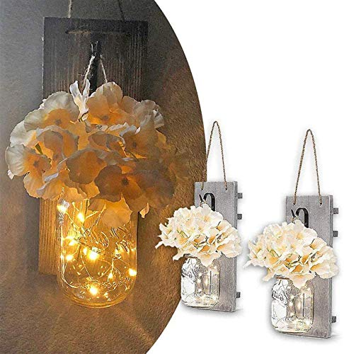 MQUPIN 2PCS Mason Jar Wall Light,Rustic LED Fairy Lights Wall Decor with 2 Silk Flowers,Wrought Iron Hooks,Wood Boards,LED String Lights with 6-Hour Timer