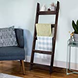 N\A Blanket Ladder - 4.5 Ft Wood Rustic Decorative Quilt Ladder Stand, Wall-Leaning Brown Farmhouse Wooden Throw Blanket Rack Holder