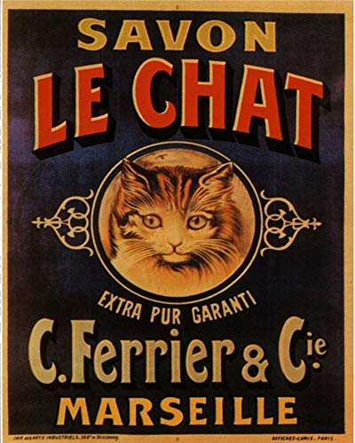"""Savon Le Chat Vintage Metal Tin Sign Wall Plaque,Printed Metal Tin Sign Wall Hanging Decoration Painting Plaque Sign Props,Outdoor/Indoor Sign 16""""x12"""""""