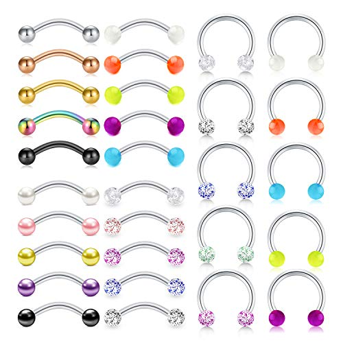 "LAURITAMI 16G Stainless Steel Rook Daith Tragus Earrings Curved Barbell Eyebrow Rings Horseshoe Hoop Earring Cartilage Helix Conch Piercing Jewelry 10mm (3/8"")"