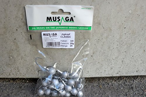 Musaga Jighaken Classic 1/0, Großpackung (25 Jigköpfe) - Super Sparpackung, 5 Gramm