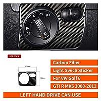 VWゴルフ6 GTI R MK6 2008-12カーボンファイバーステアリングホイールギヤのドアパネル内部ステッカーインテリアアクセサリーカースタイリング (Color Name : Headlight Switch)