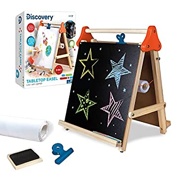Discovery Kids 3-in-1 Tabletop Dry Erase Chalkboard Painting Art Easel Includes Paper Roll and Oversized Clip 17 x 15 Inch Wood Frame Perfect for Children 3+ | Foldable/Portable for Countertop Play