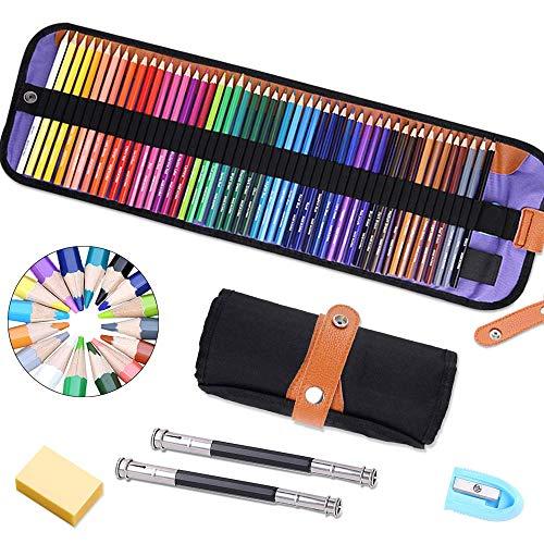 Crayons De Couleur Professionnel, 50 pièces Crayon de Couleur Crayons de Dessin Crayons Croquis Art Set, materiel de dessin et personnalisé Grande trousse, Ideal pour Enfants, Adultes et Artistes