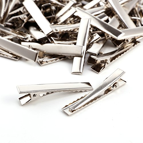 Anladia 100x Pince Epingle a Cheveux dent Crocodile Clip Metal Salon Coiffeur Fer nickelé argenté L 45mm