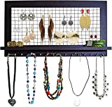 SoCal Buttercup Espresso Jewelry and Necklace Organizer - Black Wooden Wall Mounted Holder for Earrings, Necklaces, Bracelets and Accessories from