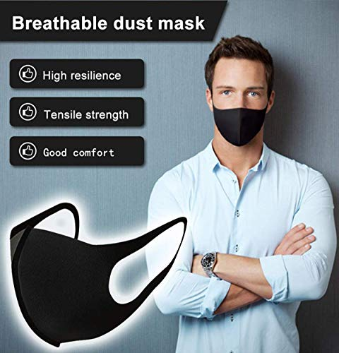 YMHPRIDE 3 Packs Anti Dust Face Mouth Mask Fashion Black Face Mask, Reusable Masks for Women and Men