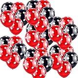 boogift 100 Pcs Decoraciones de cumpleaños de Minnie Mouse Rojas y Negras para Niñas Negro con Lunares Blancos y Rojo con Globos de Lunares Blancos para Bodas Fiestas Cumpleaños Decoración de Fiestas