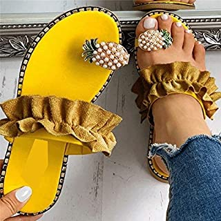Women Summer Slippers Flip Flop Platform Flat Heel Peep Toe Pineapple Decoration Beach Ladies Shoes personality sandals (Color : Yellow, Shoe Size : 7.5)