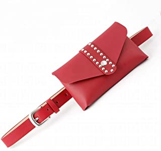 Kainuoo ウエストパックとジーンズパンツウエストベルト女性レザーベルト (Color : Red)
