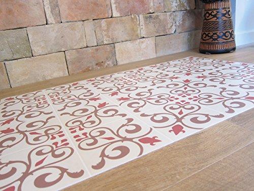 Laroom Alfombra Vinílica de Cocina Diseño Toscana, Vinilo Antiliscante, Beige, 65x100 cm