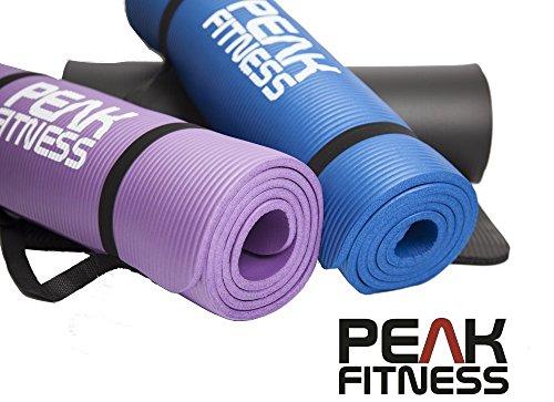 Esterilla de yoga PREMIUM de Peak Fitness – Esterilla de espuma para hacer ejercicios, extra gruesa (10mm) y con efecto memoria para mayor comodidad. INCLUYE correa para transporte. Magnífica para pilates o ejercicios abdominales. Garantía de satisfacción 100%. SIN RIESGOS. Garantía de devolución de 60 días.