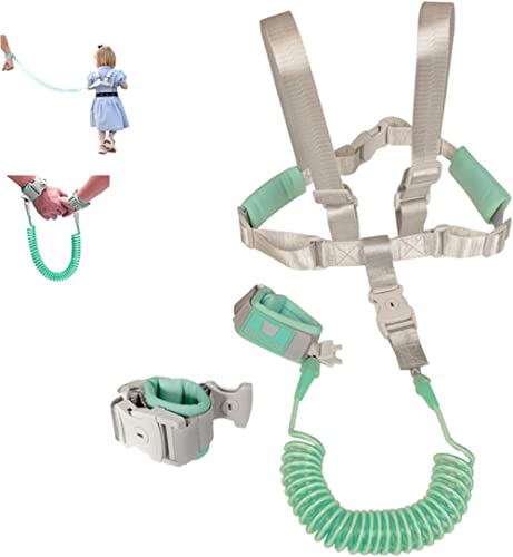 2 in 1 Baby Leash Toddler Anti Lost Wrist Link and Vest Harness with Child Lock (Mint Green, 6.5ft Length)