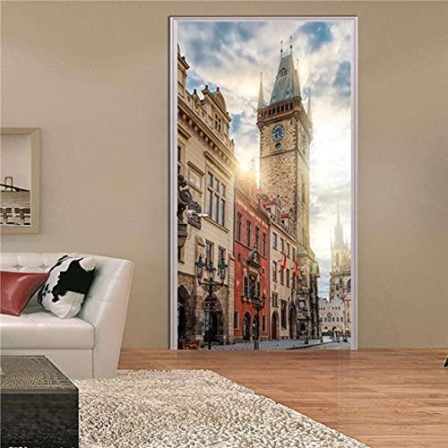 DFKJ Etiqueta engomada de la Puerta Mural Calcomanía Papel Tapiz Creativo Aniaml Conejo Paisaje Autoadhesivo para renovar Impresión Imagen de Arte Decoración para el hogar A10 77x200cm