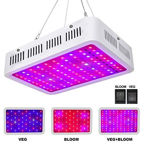 Roleadro LED Pflanzenlampe 1000W Pflanzenlicht Vollspektrum mit VEG / BLOOM Fuctoion LED Grow Light mit IR UV Licht für Gewächshaus Pflanzen Gemüse und Blüte