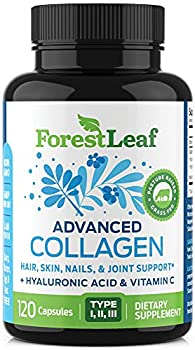 Advanced Collagen Supplement Type 1 2 and 3 with Hyaluronic Acid and Vitamin C - Anti Aging Joint Formula - Boosts Hair Nails and Skin Health - 120 Capsules - by ForestLeaf