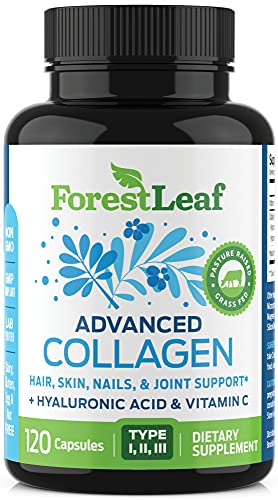Advanced Collagen Supplement, Type 1, 2 and 3 with Hyaluronic Acid and Vitamin C - Anti Aging Joint Formula - Boosts Hair, Nails and Skin Health - 120 Capsules - by ForestLeaf