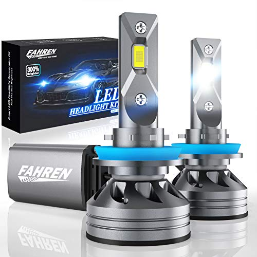 Fahren H11/H9/H8 LED Headlight Bulbs, 60W 10000 Lumens Super Bright LED Headlights Conversion Kit 6500K Cool White IP68 Waterproof, Pack of 2