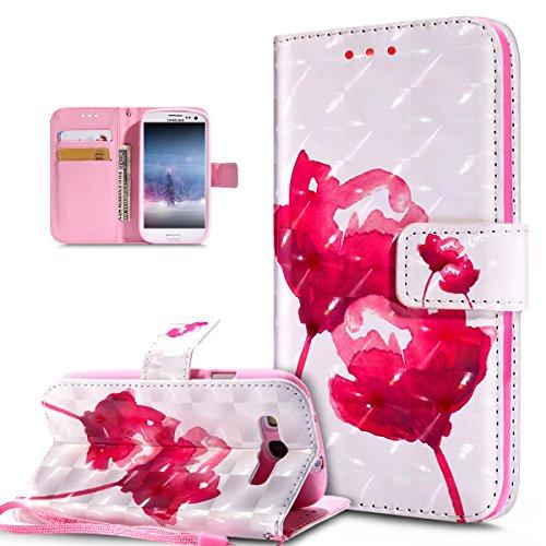 Kompatibel mit Galaxy S3 Hülle,Galaxy S3 Neo Hülle,3D Bunte Gemalte Schmetterlings Muster PU Lederhülle Flip Ständer Wallet Handy Hülle Tasche Handy Tasche Schutzhülle für Galaxy S3/S3 Neo,Rosa Lotus