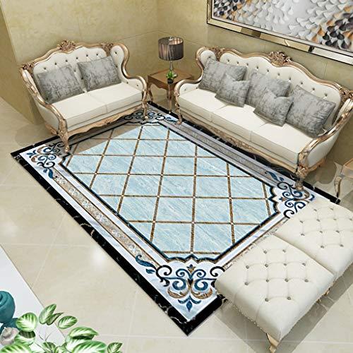 LZL Modelo geométrico tapetes y alfombras for el hogar Sala de Estar habitación de los niños Suave Alfombra de la Sala Alfombra Sofá Mesa de Mat (Color : Blue, tamaño : 140 * 200cm)