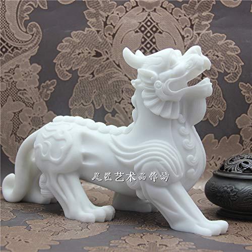 DAJIADS Figurillas Figurillas Estatuas Estatua Estatuilla Esculturas Buda 32Cm Inicio Feng Shui Talisman Protección Eficaz Dibujo Dinero Pi Xiu Real Escultura Estatua De Mármol Blanco