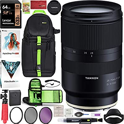 Tamron 28-75mm F/2.8 Di III RXD Full Frame E-Mount Lens (A036) for Sony Mirrorless with Deco Gear Pro Photography Sling Backpack Case Bundle + 67mm Filter Kit + 64GB Card + Software + Accessories from Tamron