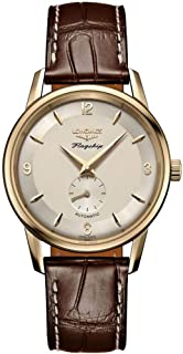 Flagship Heritage Solid 18k Yellow Gold Men's Watch with Brown Strap L4.817.6.76.2