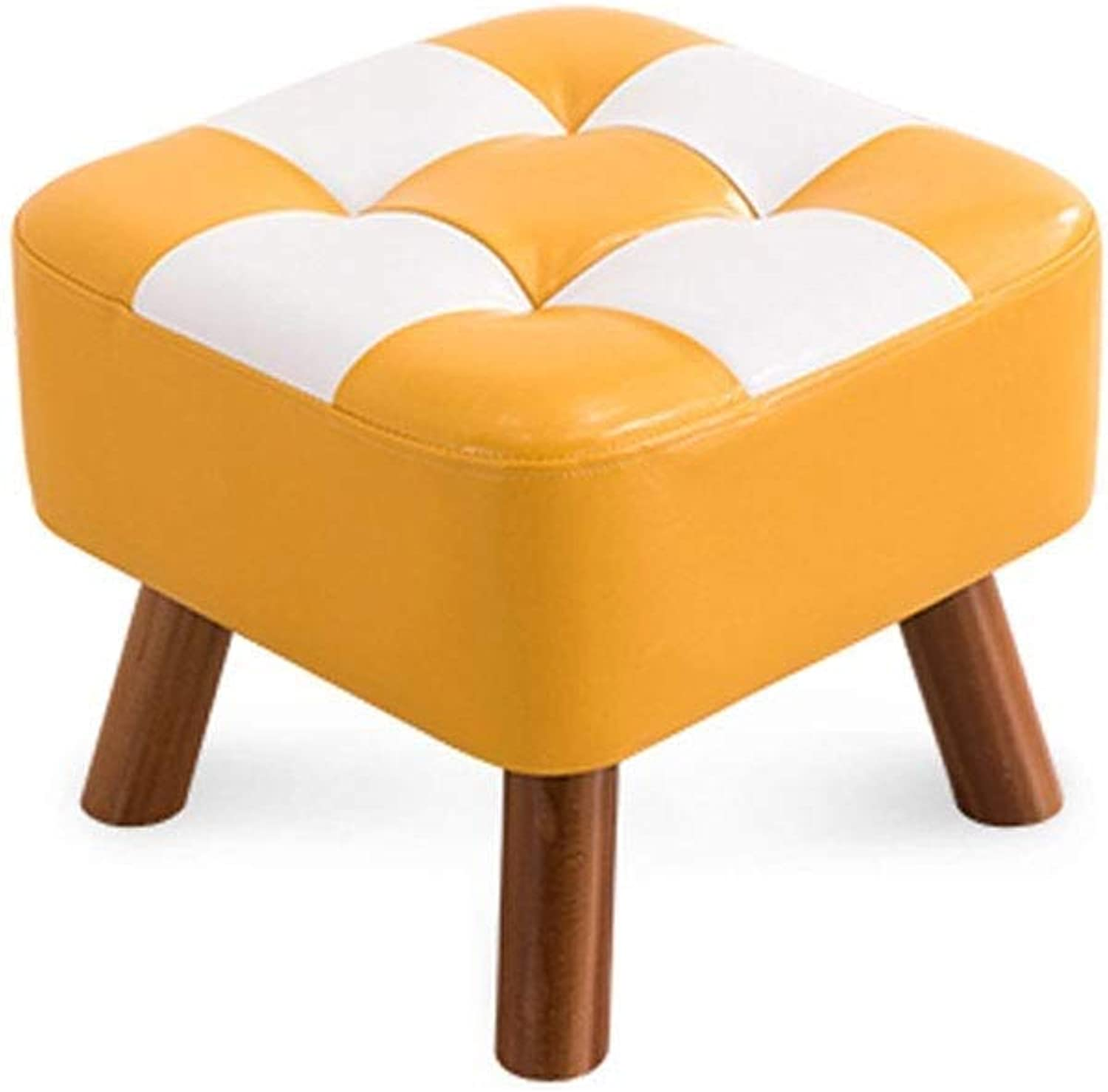 Footstool Solid Wood Square Stool Small Stool Change shoes Bench Low Stool Sofa Stool Dining Chair Family Haiming (color   Small Square Stool)