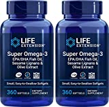 Life Extension Super Omega-3 360 Softgels (Pack of 2), Easy to Swallow, EPA/DHA Omega3 Fish Oil, Sesame Lignans & Olive Extract