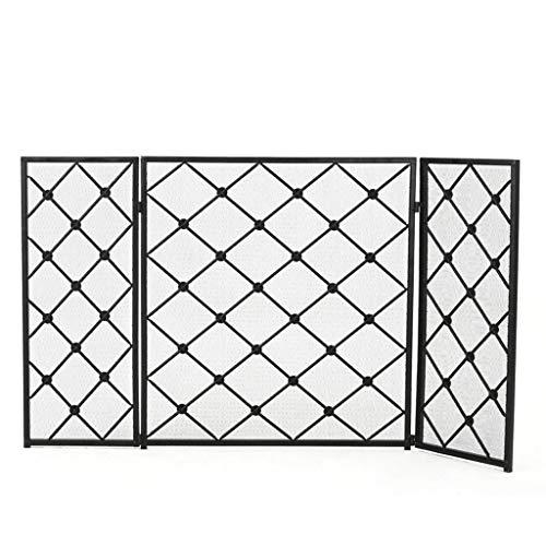 Pantalla de chimenea de metal Biombos Chimenea - 3 Panel Escudo de...