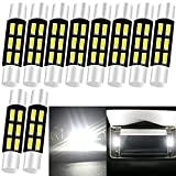 Qoope - Pack of 10-31MM 6614F Festoon LED Car Bulb White Extremely Bright 4014 6SMD 6641 Festoon LED Bulbs for 12V Vanity Mirror Lights and Sun Visor Lights 6615F 3021 3022 3175 6612F LED Bulb