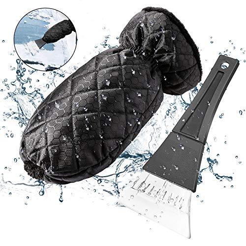 KIBTOY Eiskratz Auto Handschuh,Wasserdichtem Auto Eiskratzer Handschuh, Rutschfestem Griff, Winter Schneeschaufel, Scheibenkratzer für Auto Windschutzscheiben und Fenster