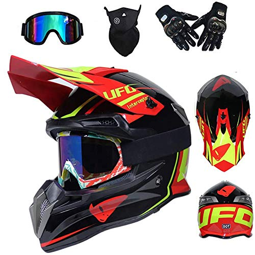 LEENY Caschi da Motocross Adulti, Stile UFO off-Road Sport Casco da Moto Set con Occhiali Maschera Guanti, BMX Caschi da Cross Motocicletta ATV MTB Downhill Enduro Racing Casco,M(56~57cm)