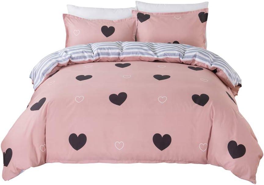 Kids Hot Max 78% OFF Modern Love Twin Duvet Cover Print Set Direct sale of manufacturer Piece 3 Du Pink