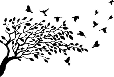 Flock of Birds Flying Resting On Tree Branches with leaves and flowers Vinyl Wall Decal Sticker Decor