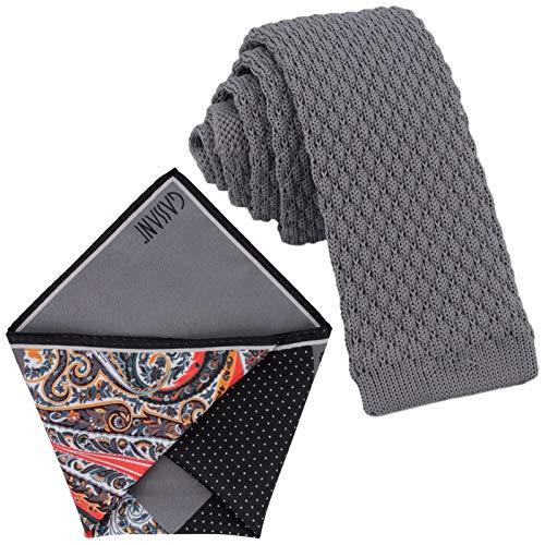 GASSANI Krawatten-Set, 6cm Schmale Graue Strick-Krawatte, Dünne Vintage Herren-Krawatte Wolle Baumwolle, Einstecktuch Bunt 4 Verschiedene Designs