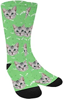 Custom Personalized Photo Pet Face Socks, Fish Bones, Cat and Dog Tracks Paws Crew Socks with Picture for Men Women